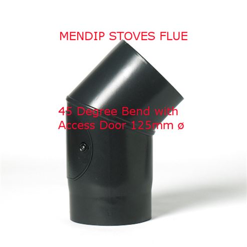 Picture of Matt Black Flue Pipe 125mm 135 Degree Bend
