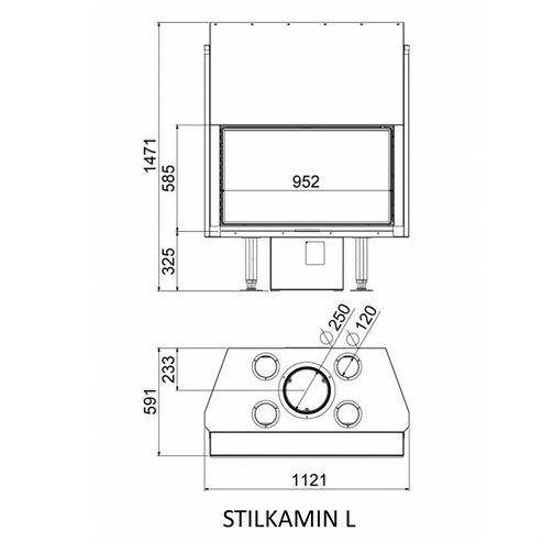 Picture of Stilkamin L - 920 x 520mm Glass Panel